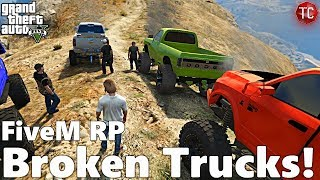 GTA FiveM RP: Off-Road Trip! Driving the Trucks Home... THEY BROKE DOWN