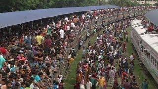Konec Ramadánu - dopravní špička v Bangladeshi