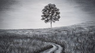 Black and White Tree Landscape Acrylic Painting LIVE Tutorial