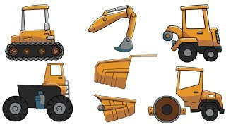 Learning Street Vehicles Name and Sound Excavator ,Front Loader ,Road Roller ,Dump Truck