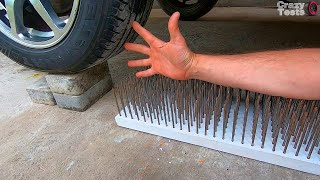 Hand on 250 Nails vs Car - EXPERIMENT    Crushing Crunchy & Soft Things by Car!