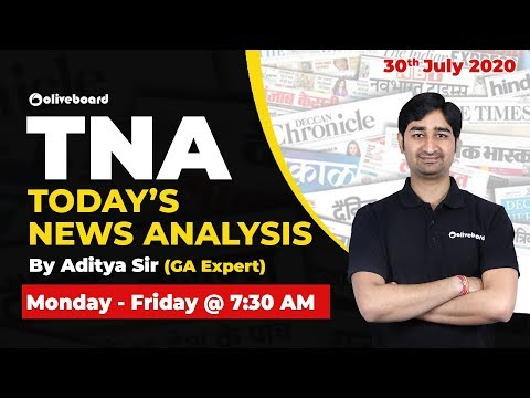 Oliveboard TNA: July 30 2020   Daily News Analysis Simplified   Daily Current Affairs