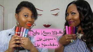 """NEW Ruby Kisses Matte Lip Laquer """"Lip""""  Swatches + Quick Review"""