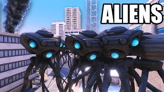 ALIEN Tripods Invade EARTH!  Aliens vs Human Soldiers (Ultimate Epic Battle Simulator NEW update)