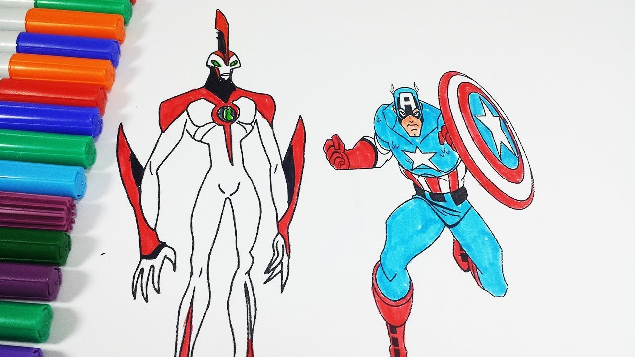 Coloring Pages Ben 10 Waybig Captain America - Coloring Videos Ben ...