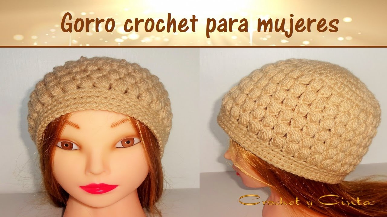 dcd0dc3a7d032 Gorro para mujeres tejido a crochet en punto puff - YouTube