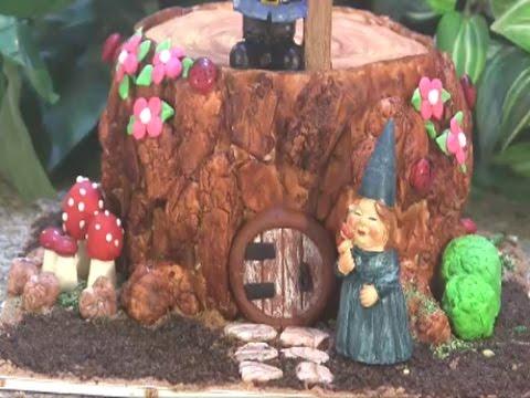 Gnome Fairy Garden Tree Stump Cake