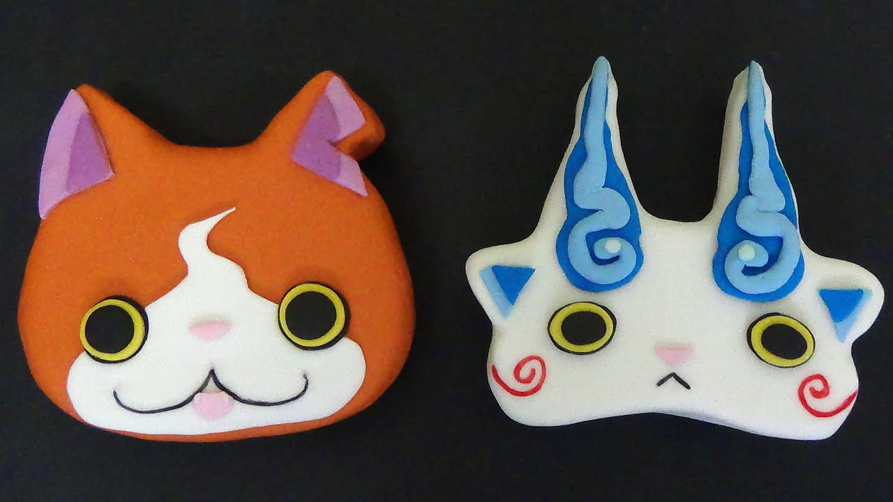 How to make yo kay watch cake jibanyan and komasan youtube for Decoration yo kai watch