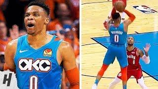 Russell Wetbrook NASTY Dagger 3 Over Damian Lillard & Talks Trash | April 19, 2019 NBA Playoffs