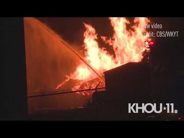 Raw: Jim Beam warehouse with thousands of barrels of bourbon catches fire