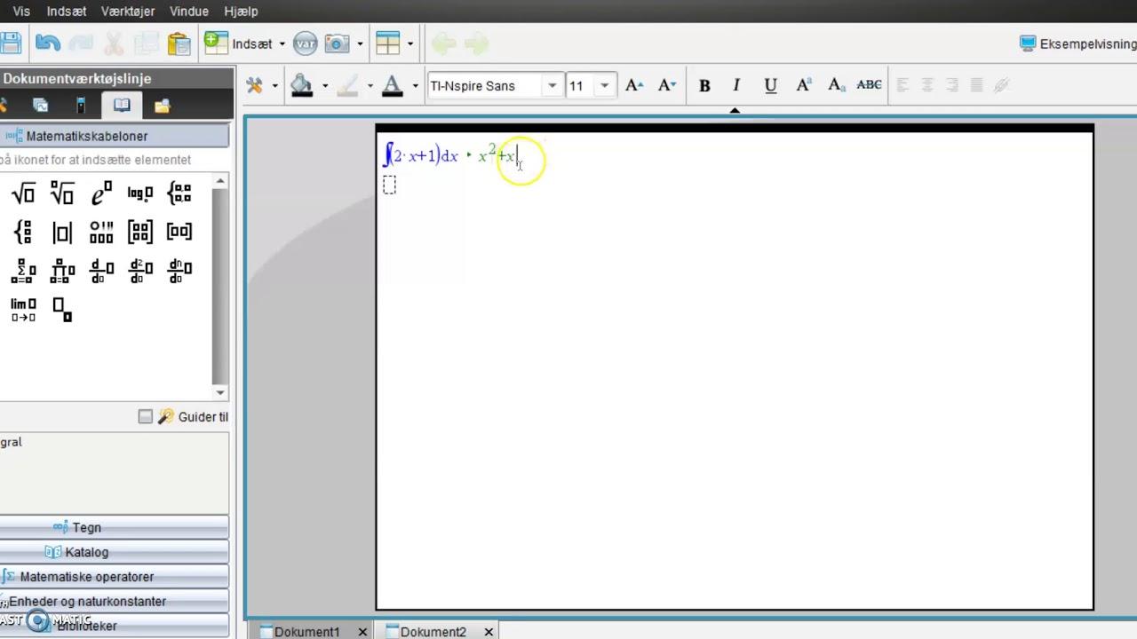 Stamfunktioner i TI-nspire (ubestemte integraler)
