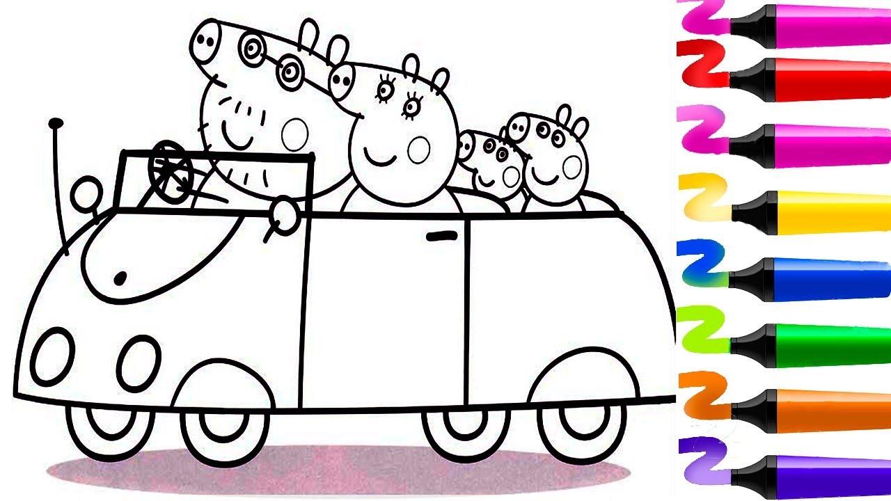 Comment Colorier Peppa Pig Avec Sa Famille Dans La Voiture Peppa Pig Coloriage Pour Enfants Youtube