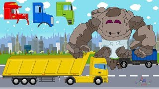 Baby Stone Giant & Trucks | learn construction car and street vehicles | Animacja dla dzieci