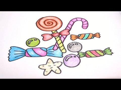 ท๊อฟฟี่ ลูกกวาด ลูกอม สอนวาดรูปการ์ตูนน่ารักง่ายๆ ระบายสี