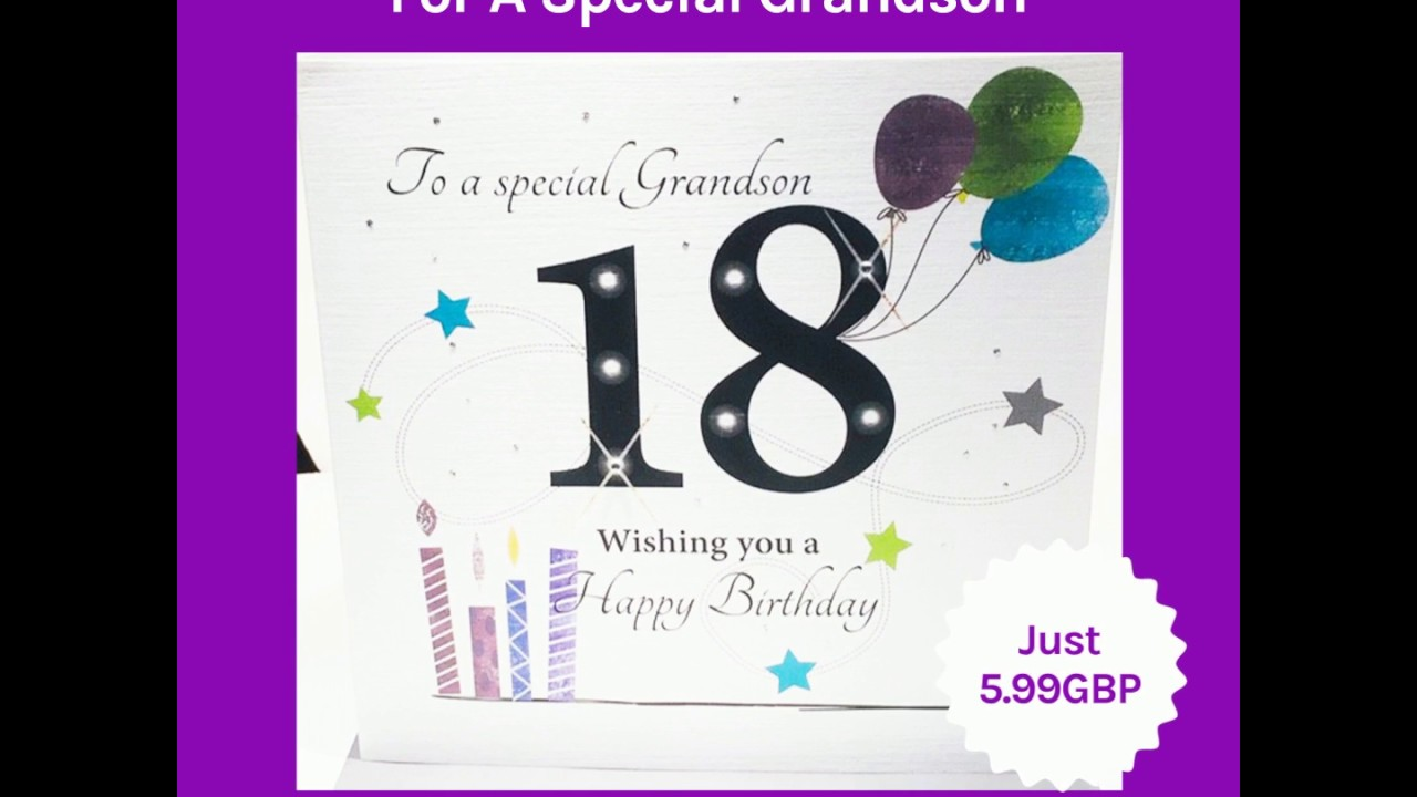 LARGE Happy 18th Birthday Card For A Special Grandson