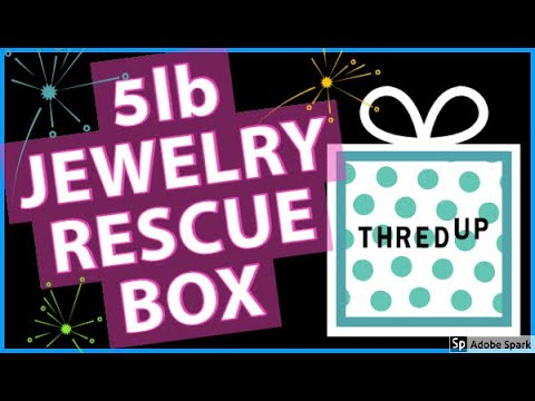 THREDUP 5lb JEWELRY RESCUE BOX REVEAL UNBOXING   SILVER   Goodwill Blue Box Jewelry Jar for Resell