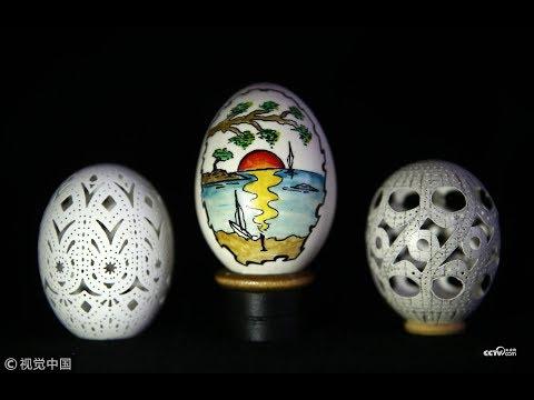 Carved chicken egg art  CCTV English