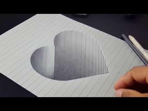 vẽ trai tim 3d đơn giản bằng bút chì