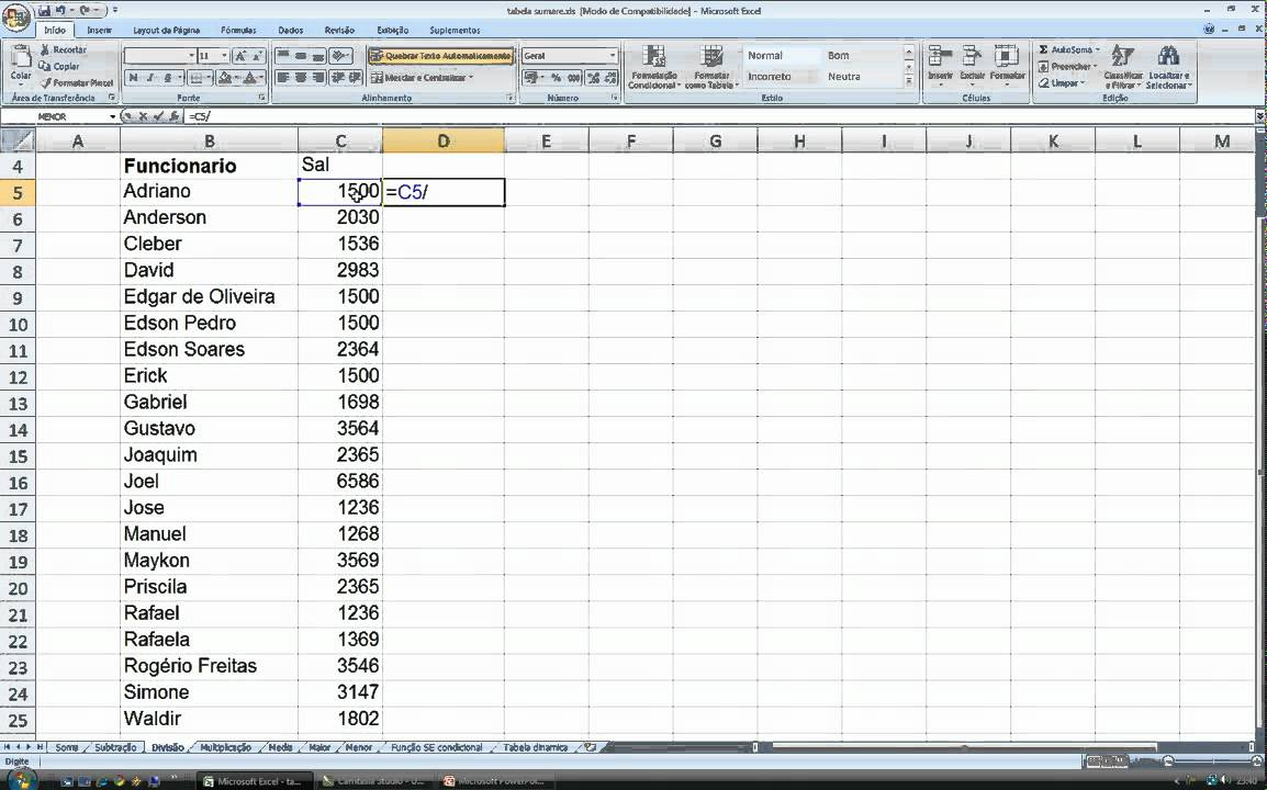 Excel 20 Fórmulas Adição, Subtração, SE, e mais um pouco...