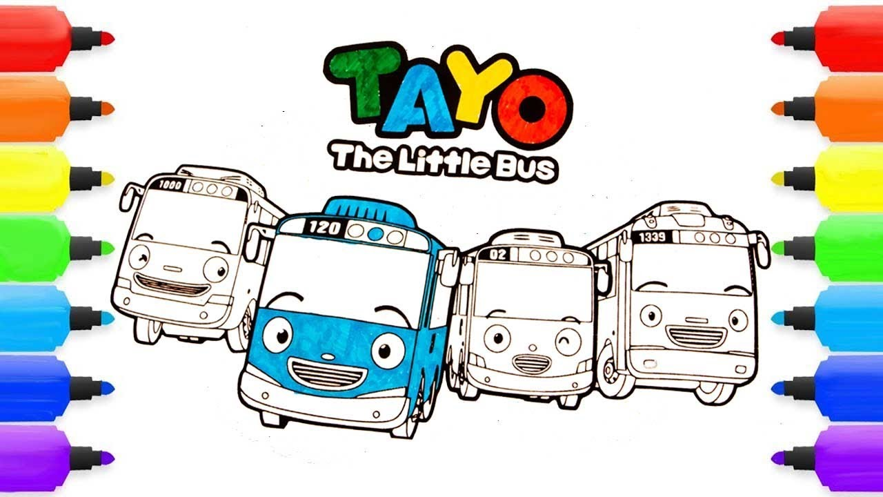 How To Draw Tayo The Little Bus TAYO ROGI LANI GANI Tayo The Little Bus Painting Coloring Pages