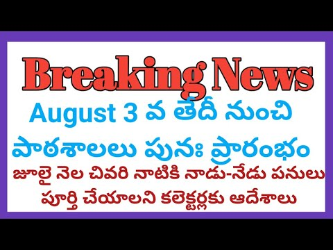 Telugu Breaking News Roundup Today-Andhra Schools To Open From Aug 3rd