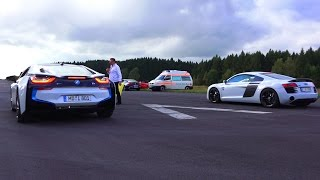 bmw i8 vs audi r8 plus drag race 550plus club acceleration rennen