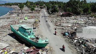 Aerial images of devastation after Indonesia tsunami