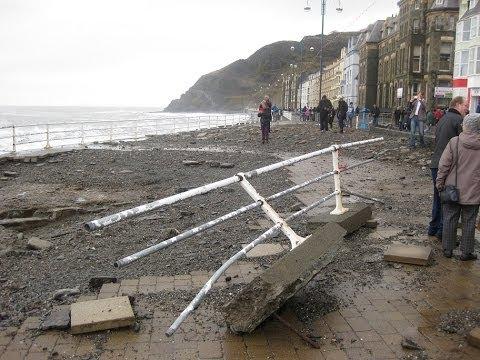 Raging Sea Destroys Promenade @ Aberystwyth West Wales