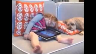 little sleepy girl wake up with dog