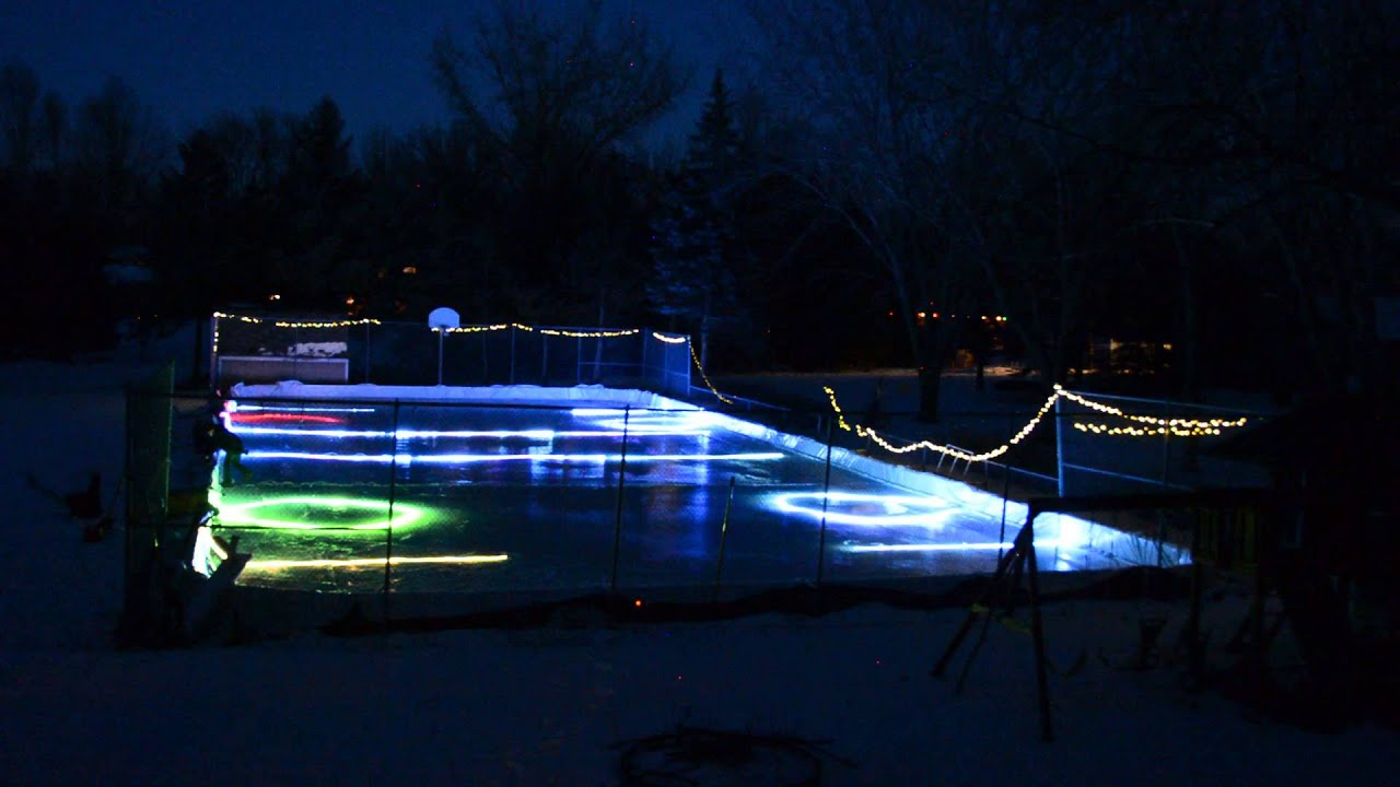 Led Lights Frozen In Backyard Ice Rink