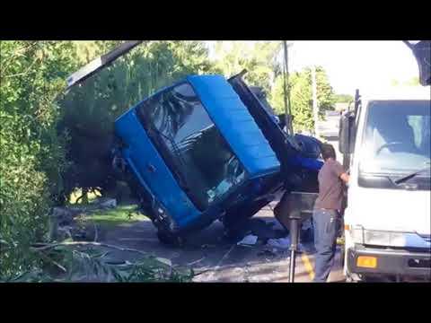 Overturned Truck Being Removed, Nov 30 2017