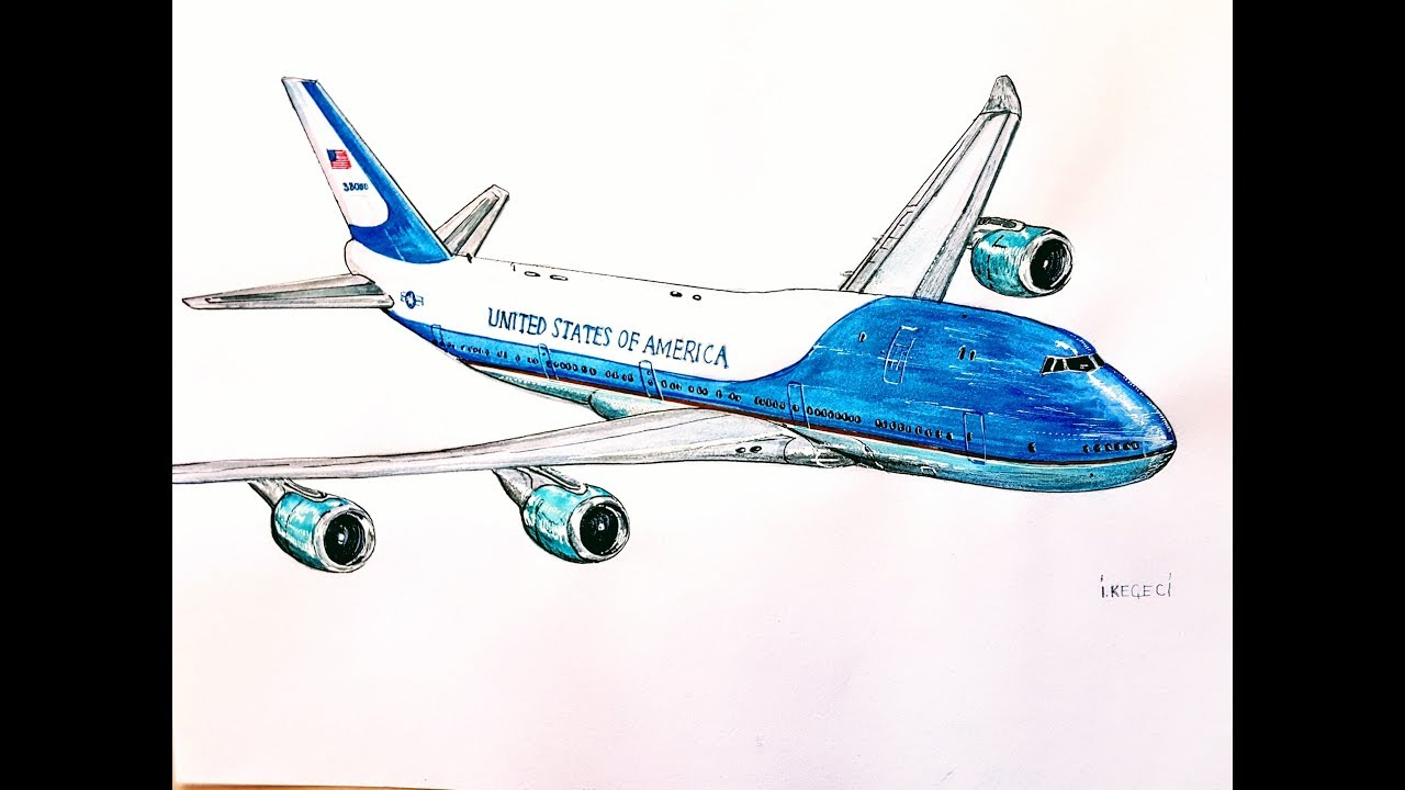High Quality AIR FORCE ONE, Boeing 747,drawing Timelapse