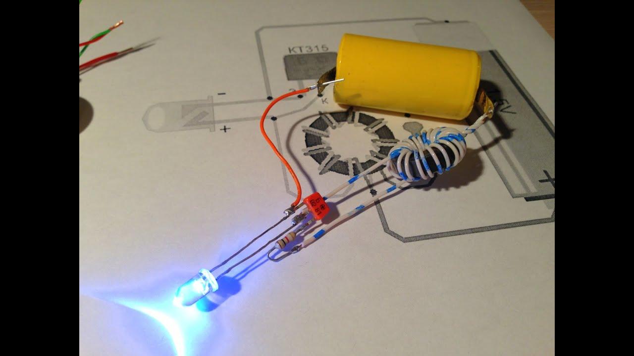 схема фонарика на светодиодах от 1,5в