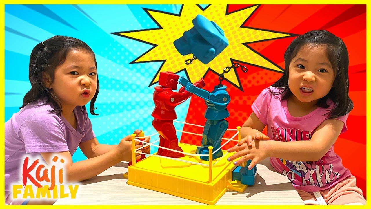 Emma and Kate Robots Battle with Rock 'Em Sock 'Em!!