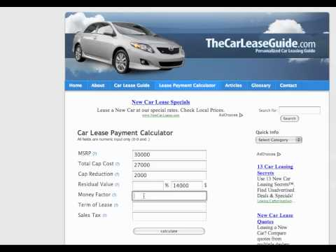 Car Lease Calculator - Youtube