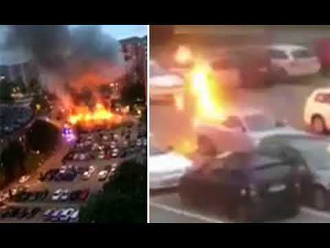 BREAKING! Masked Attackers Set Cars On Fire In Hospital Car Park Rampage In Sweden