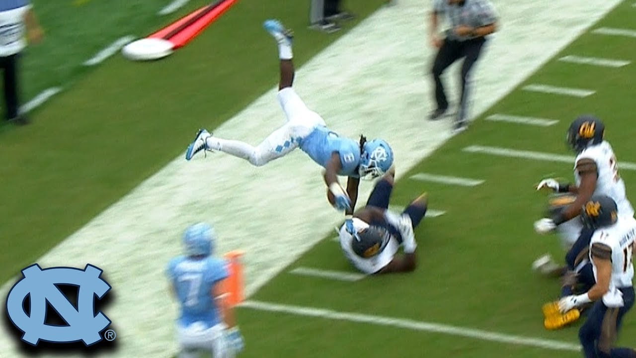 unc rb michael carter acrobatic td dive acc must see moment youtube