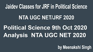 Political Science 9th Oct 2020 Analysis  NTA UGC NET 2020