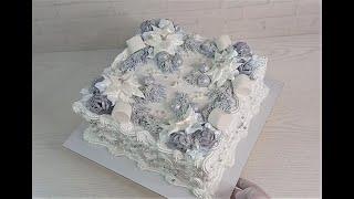 торт в СЕРЕБРИСТЫХ тонах Торт на РОЖДЕСТВО на Новый Год Украшение зимнего торта Белковым кремом