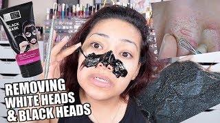 PEEL OFF MASK & REMOVING MY WHITE HEADS & BLACK HEADS! THEY NEED TO COME OUT!
