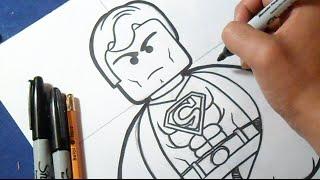 "Cómo dibujar a Superman ""LEGO"" | How to draw Superman"