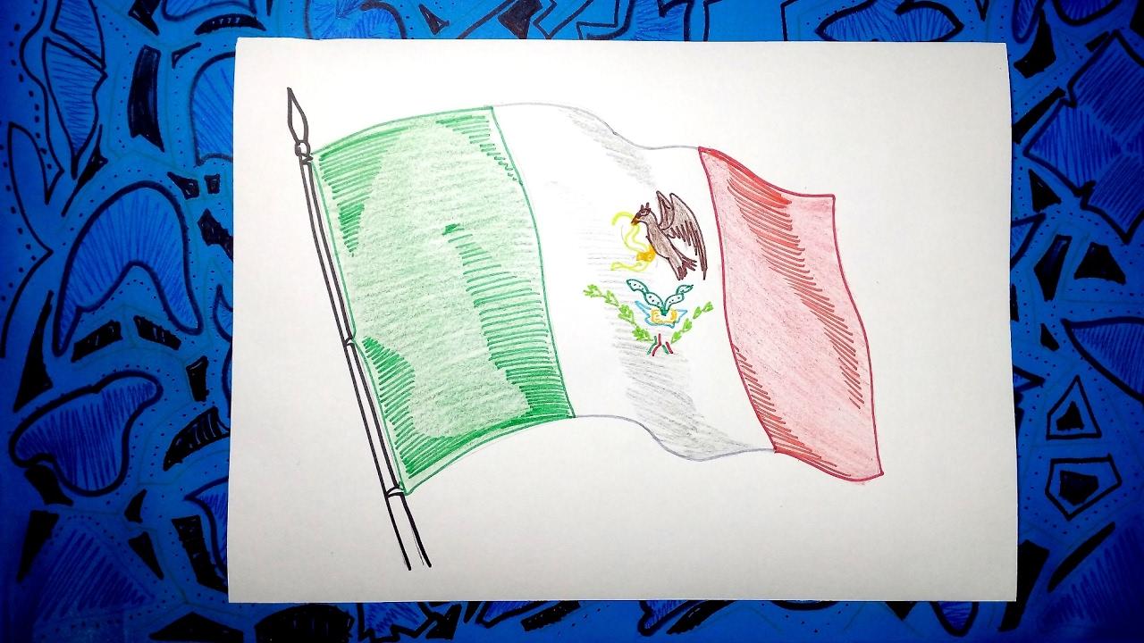 Aprende a dibujar la bandera Oficial de Mexico con colores - YouTube