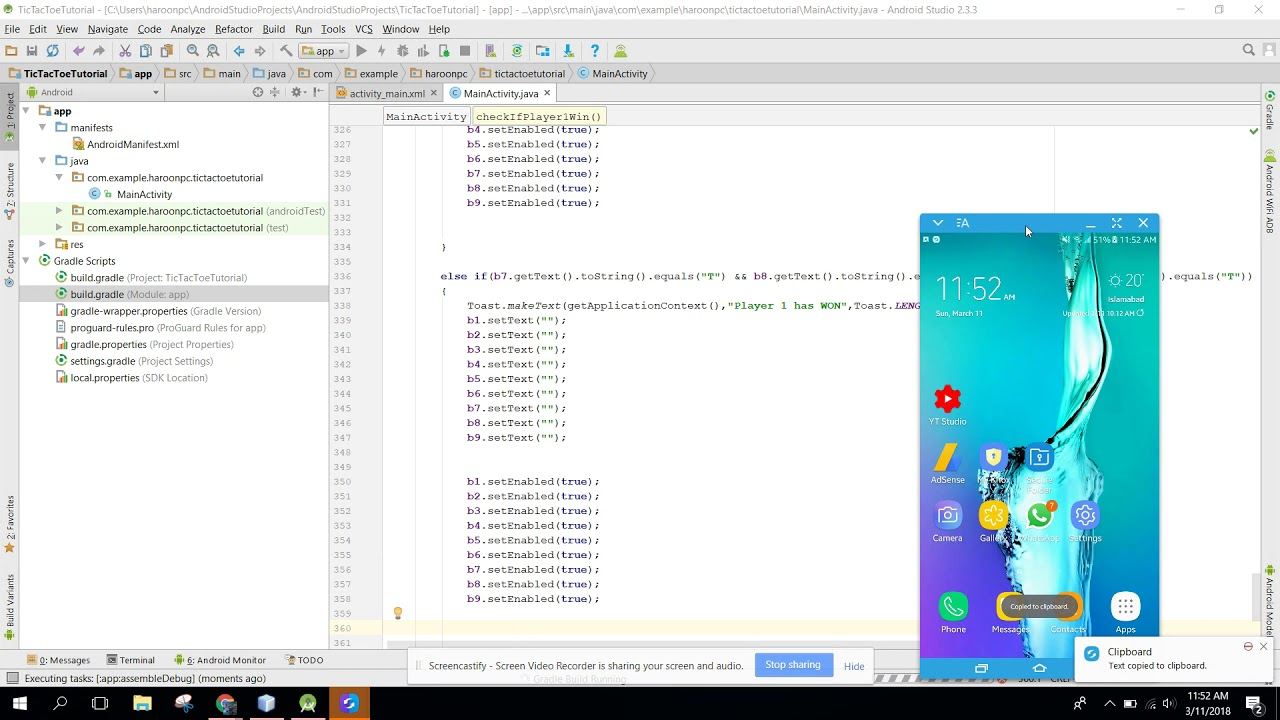 Tic Tac Toe (2 players) using TCP Sockets game Tutorial in Android Studio  Part 2