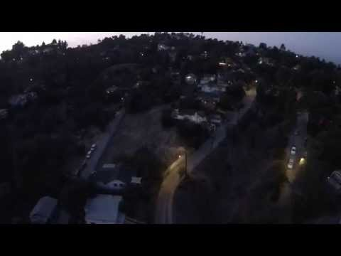 Flying drone over Los Angeles Mount Washington