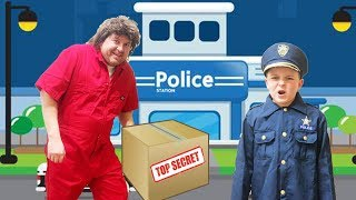 Funny kids investigate the stolen package pretend play toys
