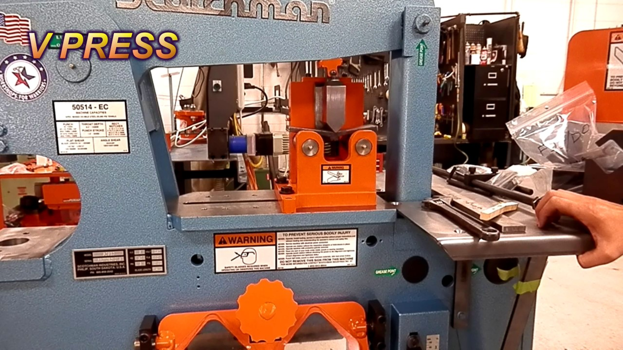 Test welding quality with a Scotchman Weld Coupon Bender - on 50514-EC  Ironworker