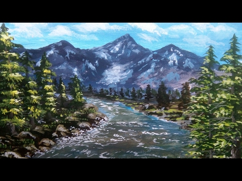 Oil painting | for beginners | Hill,river landscape,water painting art