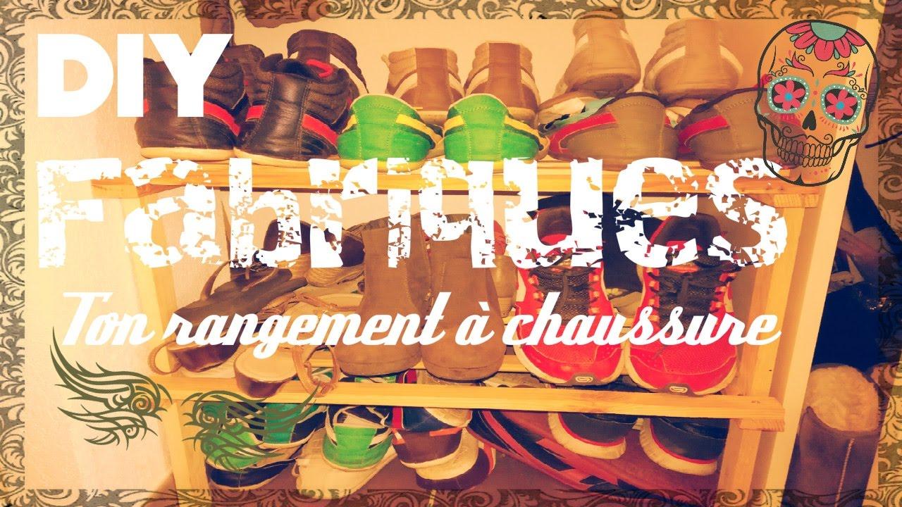 Rangement chaussure en palette am nagement de placard - Amenagement sous escalier ikea ...
