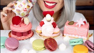 ASMR Eating Macarons, Meringues, Pastries from Laduree *No Talking Mukbang