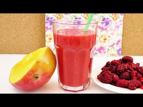 Roten Smoothie selber machen | Vitamin Bombe mit Mango, Himbeeren & Orange Saft | Lecker & Gesund